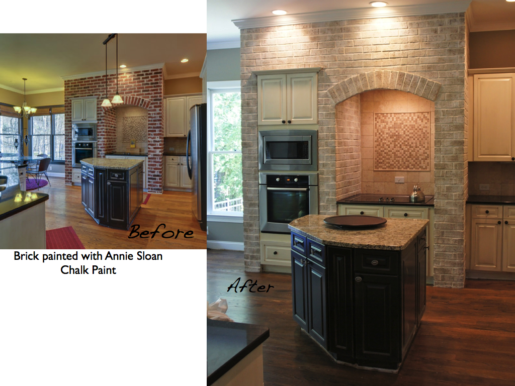 Kitchen Painted Brick Before and After