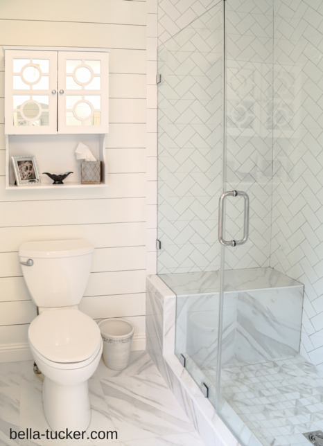 shower with herringbone tile and porcelain marble bella 13
