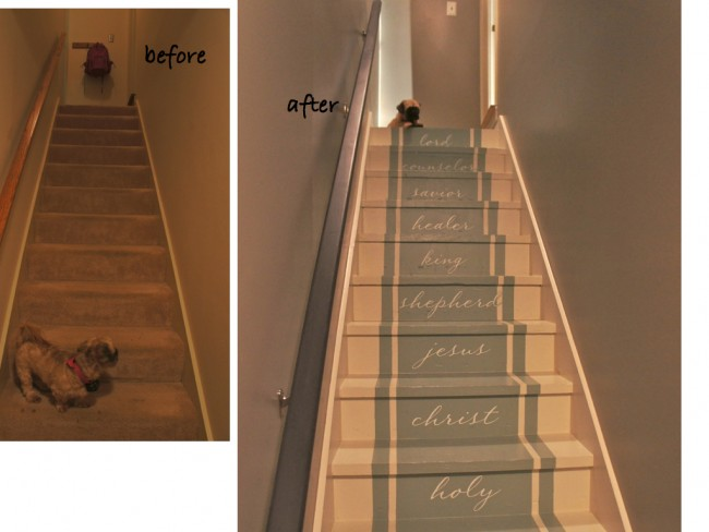 painted stair before and after by Bella Tucker Decorative Finishes