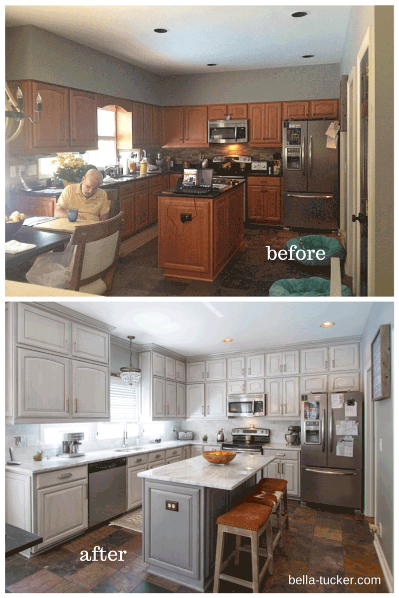 Before And After Painting Old Kitchen Cabinets