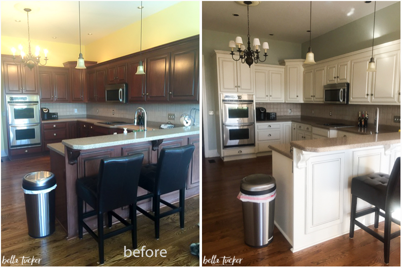 Kitchen Cabinet Painting Cream Cabinets Before And After
