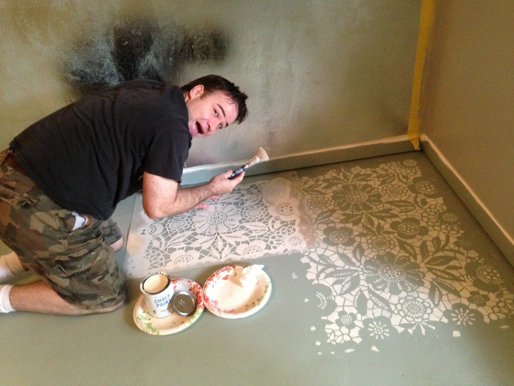 Brooks painting the Skylar's Lace Stencil in Old White