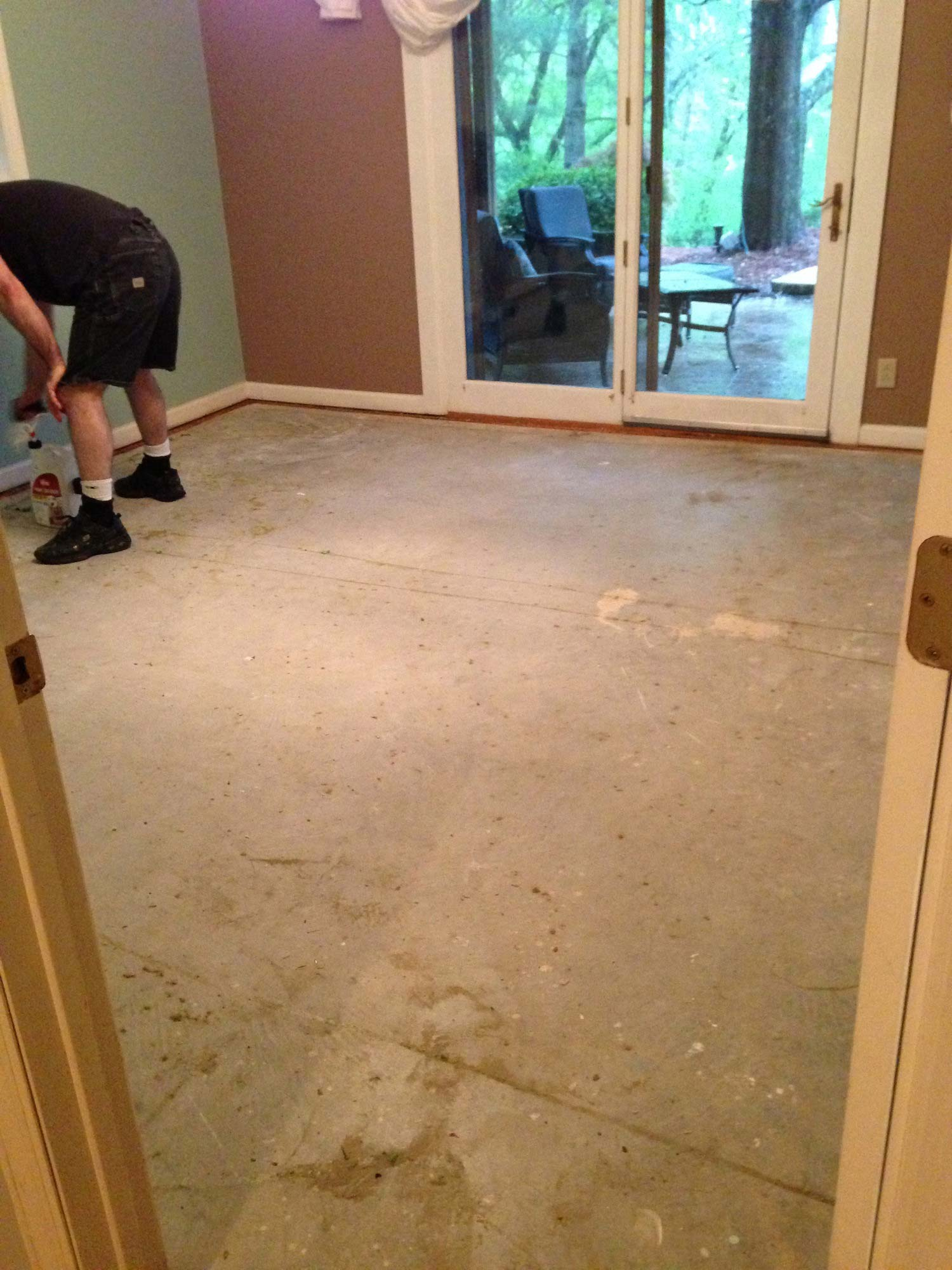 Concrete Sub Floor After Carpet Was Removed