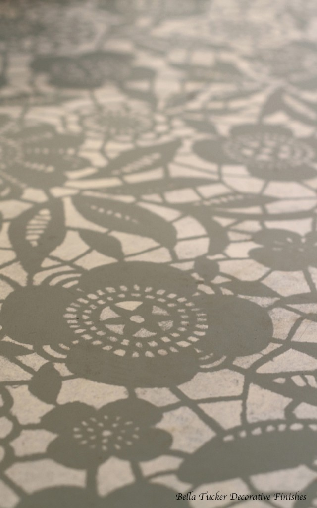 Skylar's Lace stencil painted by Bella Tucker Decorative Finishes