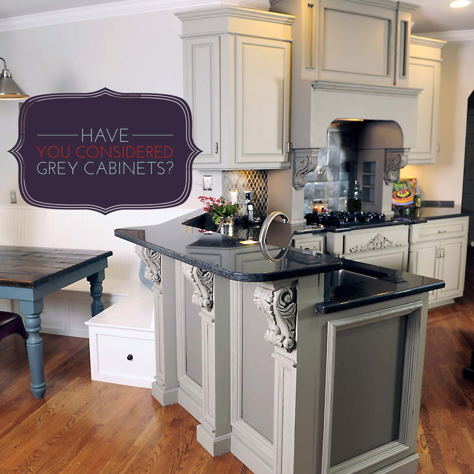 gray stained kitchen cabinets.  Have you considered Grey Kitchen Cabinets