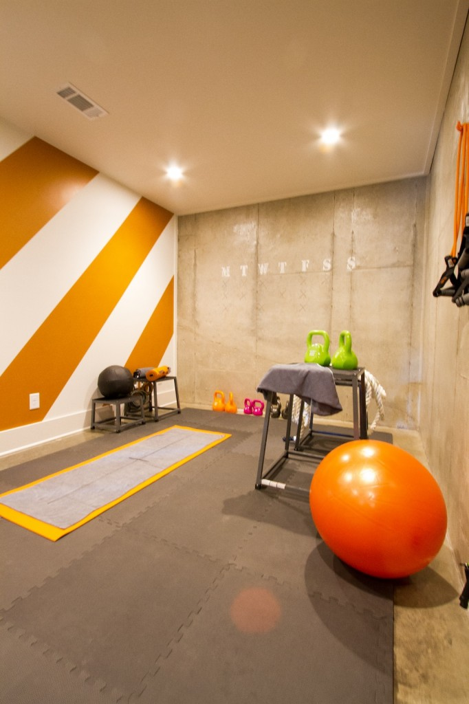 HGTV Smart Home Workout room with funky orange stripes