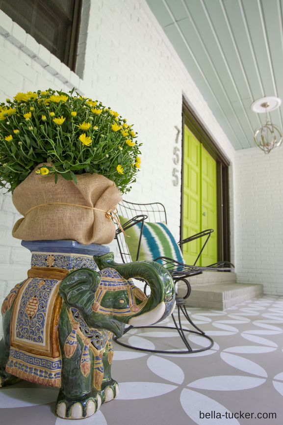 Stenciled porch and vintage elephant stool by Bella Tucker Decorative Finishes
