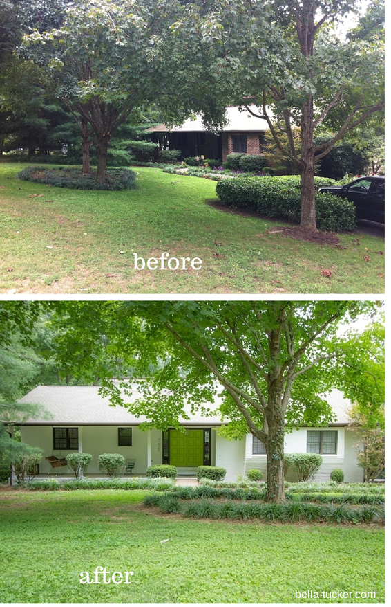 White Painted Brick Exterior Before And After on mid century modern house exteriors