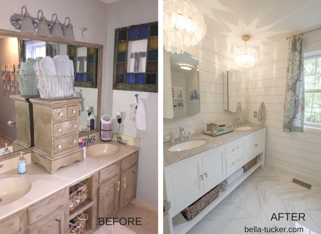 budget bathroom remodel before and after- Bella Tucker Decorative Finishes