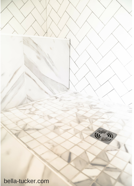 herringbone subway tile and porcelain marble tile bella-tucker.com (14)