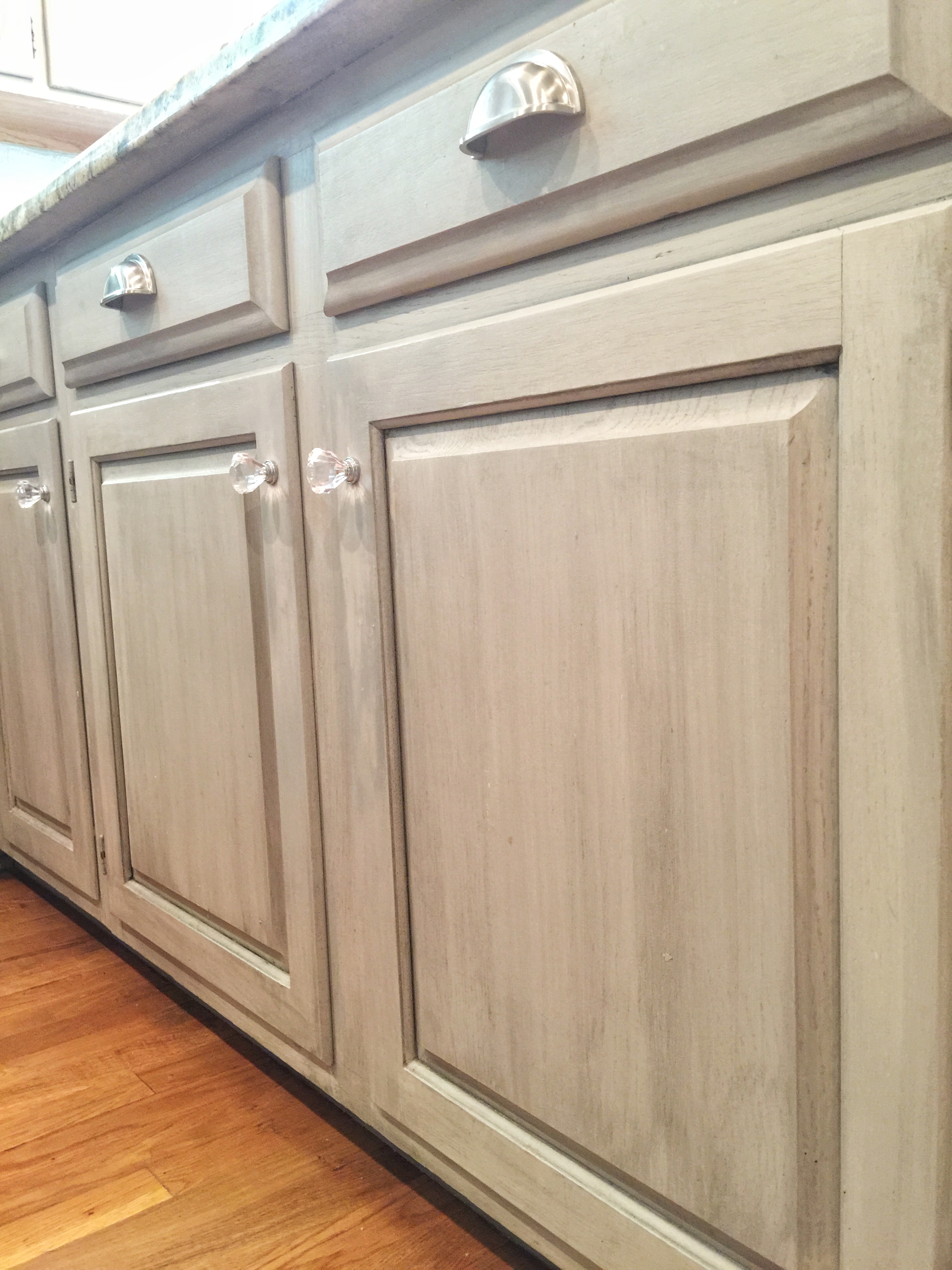 Light Gray Cabinets with a smokey all over glaze- Bella Tucker Decorative Finishes