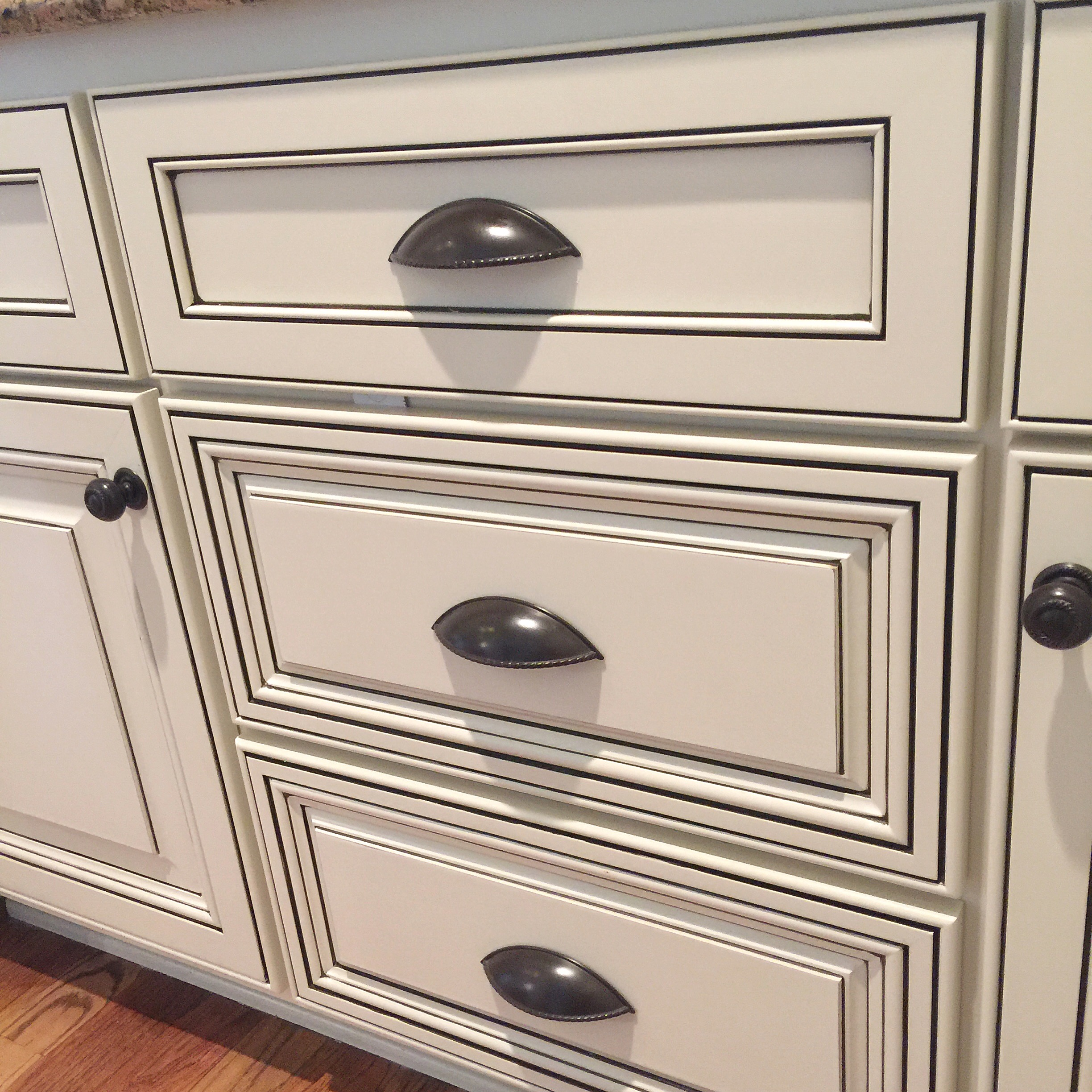 glazed cabinets with multiple lines of glaze- Bella Tucker Decorative Finishes
