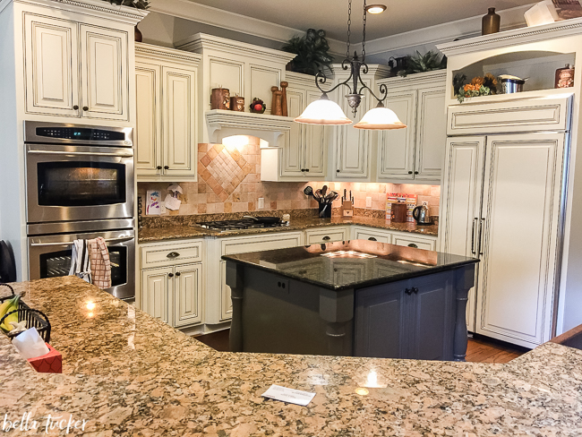 Kitchen Cabinet Paint Colors Tuscan kitchen updated with Sherwin Williams Creamy.
