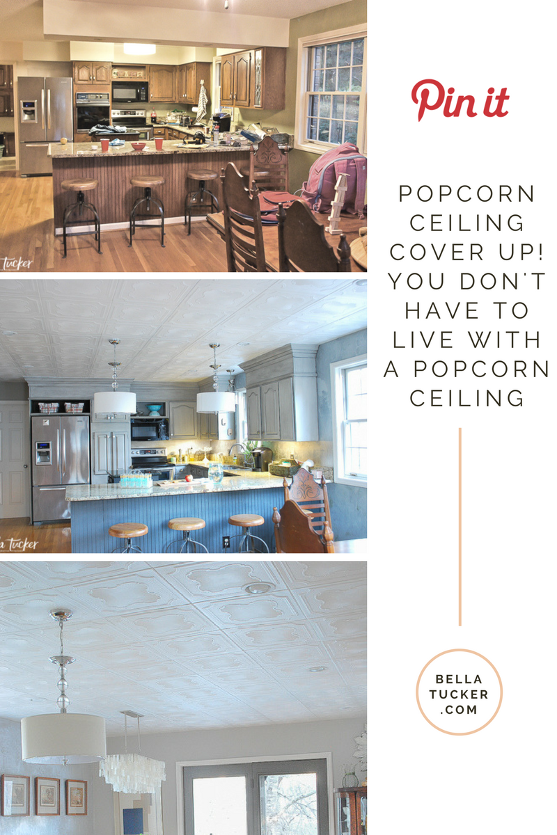 cover up popcorn ceilings with styrofoam tiles