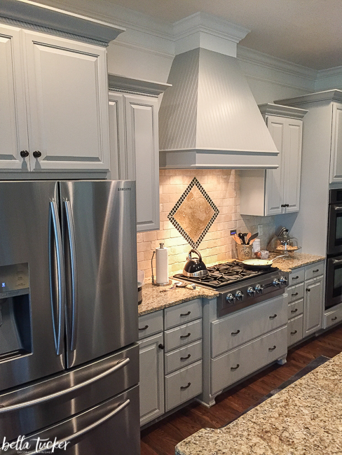 Cabinets painted in Sherwin Williams Dorian Gray