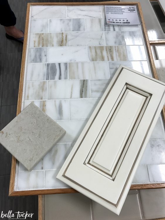 Countertop, tile, and cabinet choices