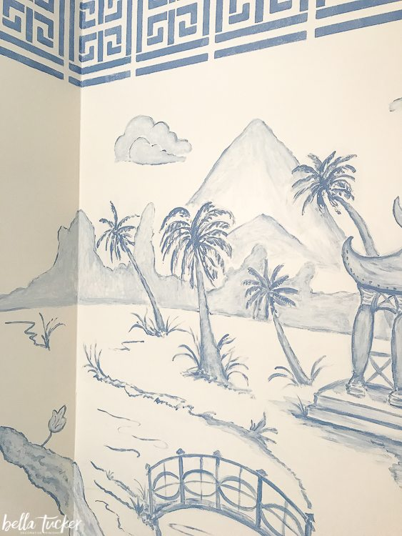 chinoiserie mural with palm trees by Bella Tucker Decorative Finishes
