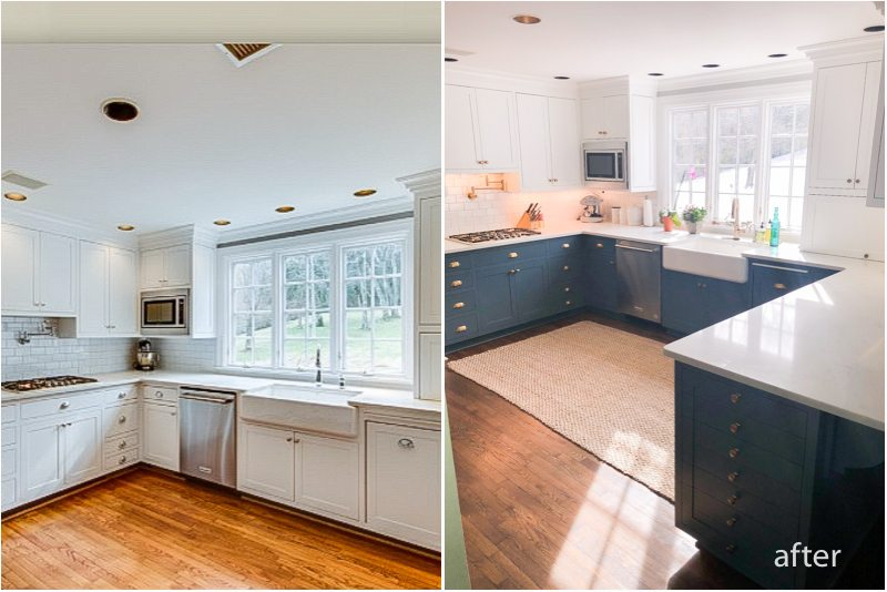 wo toned cabinets before and after
