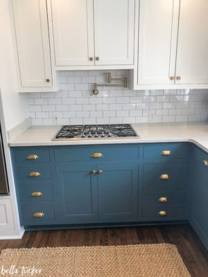 Blue and White Two Toned Kitchen Cabinets