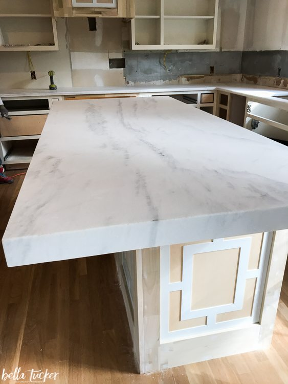 Snow White Marble countertops with a 3 inch mitered edge