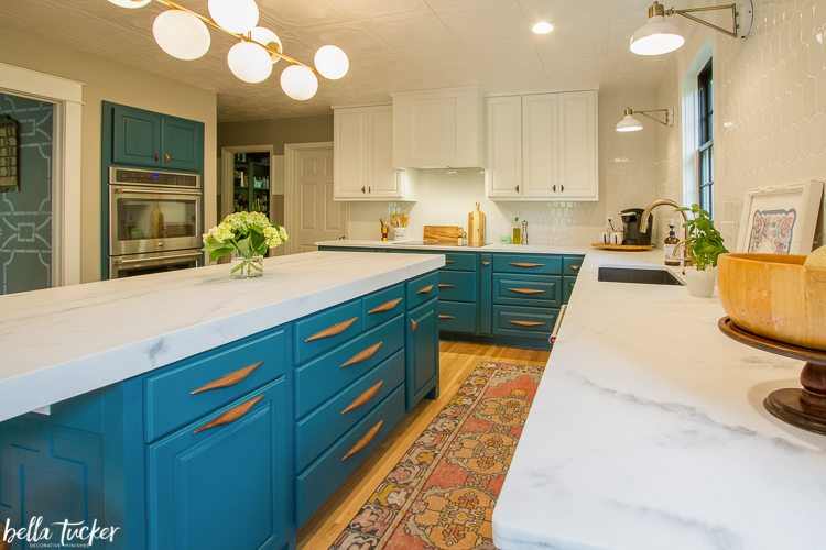 Sherwin Williams Blue Peacock Cabinets with wood cabinet pulls