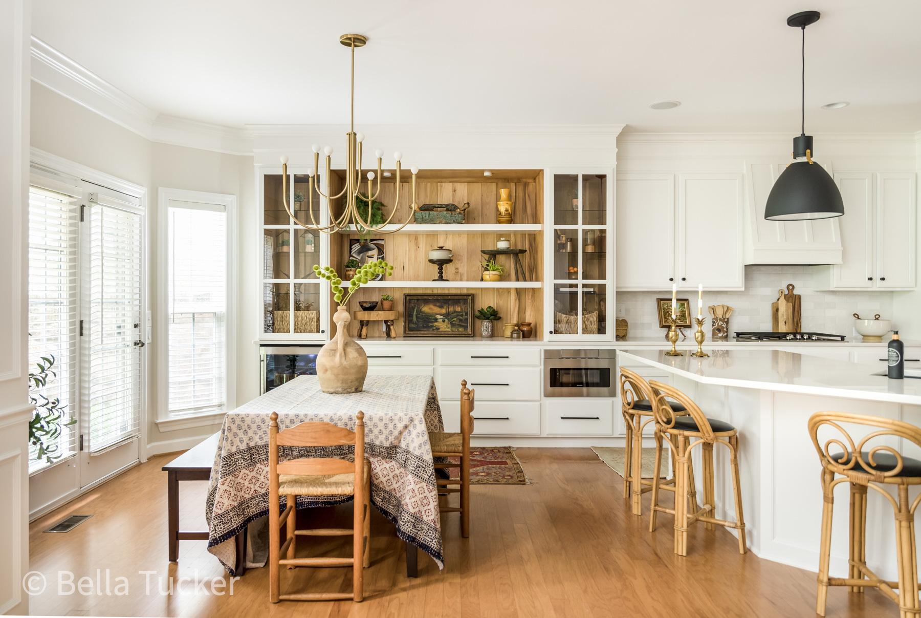 warm wood soft white kitchen