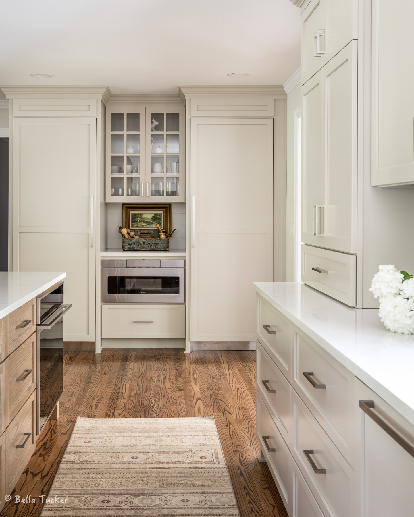 column refrigerator and freezer with cabinet panels